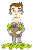 cartoon man with briefcase overflowing with money