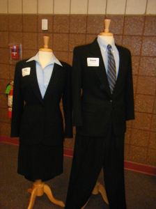 example of male and female business suit