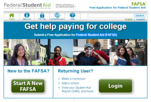 FAFSA home screen