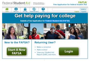 FAFSA home screen