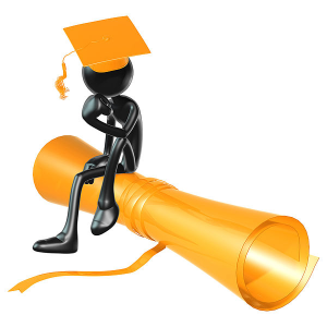 Thinking man sitting on diploma