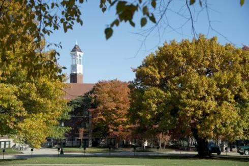 Purdue Bell Tower in fall