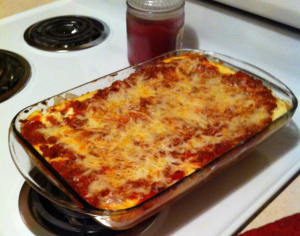 lasagna sitting on stovetop