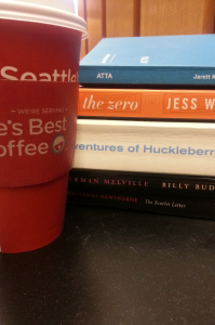 stack of books & coffee cup
