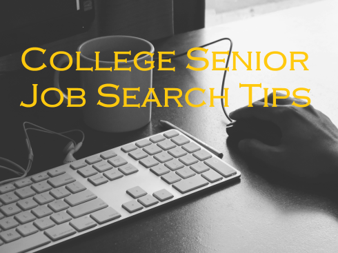 Computer keyboard and mouse; text overlay: College Senior Job Search Tips