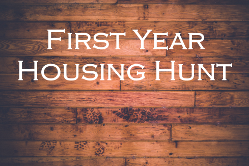 wood floor; text overlay: First Year Housing Hunt