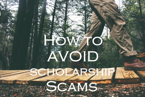 man hiking in woods; text overlay: How to Avoid Scholarship Scams