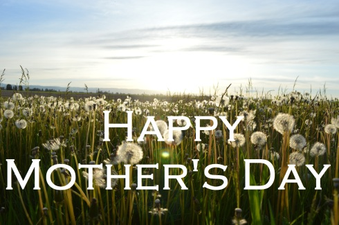 field of dandelions; text overlay: Happy Mother's Day