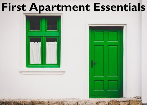 green door & window; text overlay: First Apartment Essentials