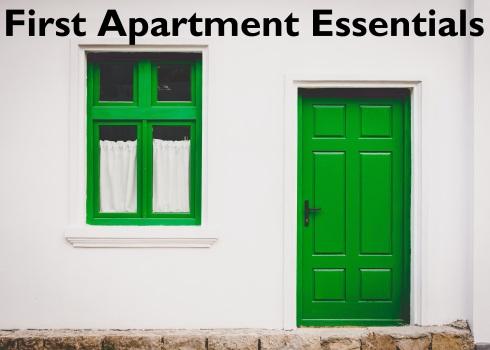 green door & window; text overlay: First Apartment Essentials