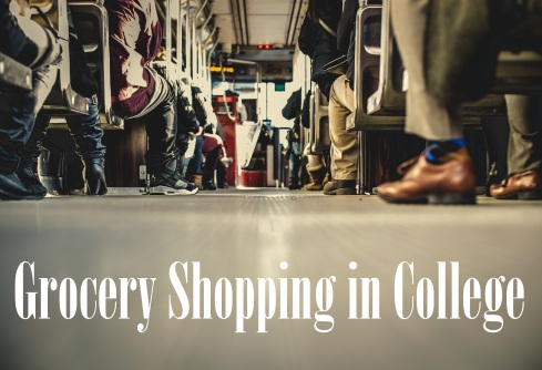 bus floor and seats; text overlay: Grocery Shopping in College
